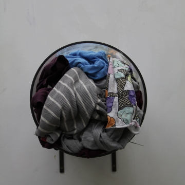 'Caught in the Head and the Heart' Glass, clothing rags, steel. 600mm x 300mm x 500mm. 2014
