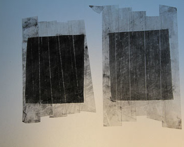 'Drawings to another place'. Becoming graphene. Graphite on moving image splicing tape, lightbox. Dimensions variable 2014