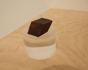 20,000,000k. Cold forged copper cube, Quasi Crystal form. 10mmx10mmx10mm. Optical perspex mount on wood shelf.