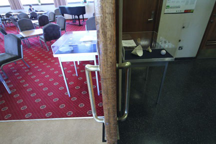 'Between Tables' Threshold view. Wood, Steel, Perspex. Contents variable. Blackett Lab. Imperial College. 2014
