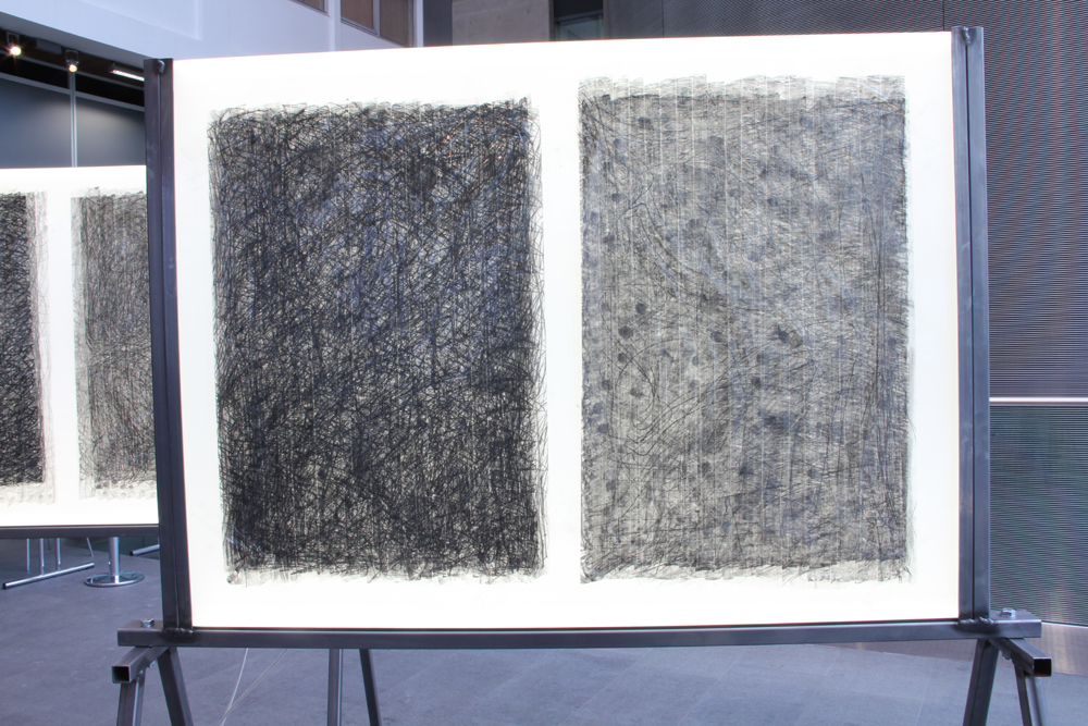 'Becoming Graphene' Drawings to another place. graphite-graphene drawings on 65mm and 35mm moving image splicing tape. Mounted on LED Light panel, Academy format. 2015 Installation view, Imperial College London