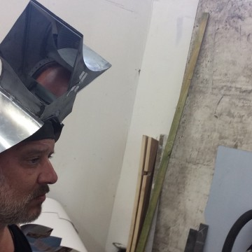 Optical mask in the studio.